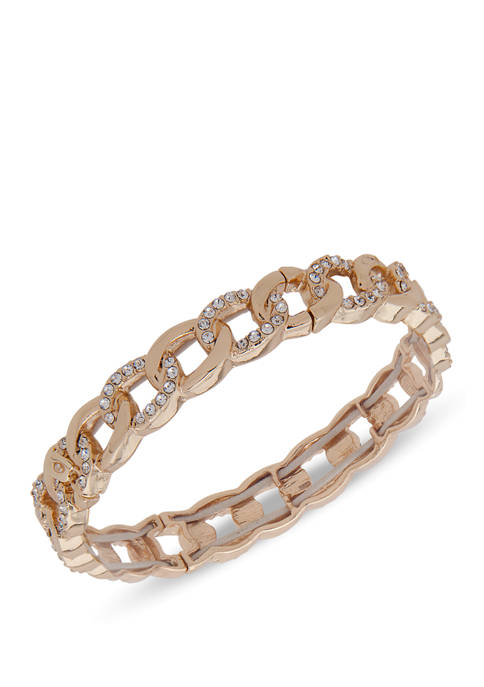 Nine West Boxed Gold Tone Crystal Pave Link