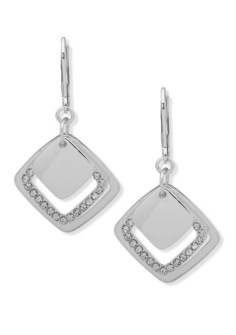 Silver Tone Shaky Orbital Drop Earrings
