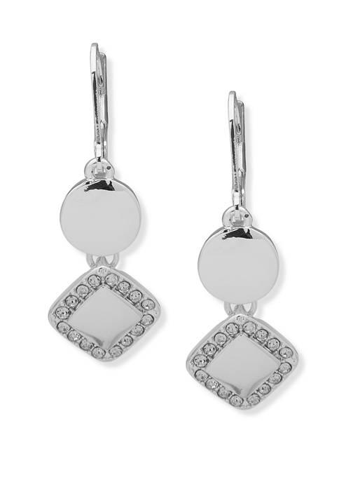Nine West Silver Tone Crystal Double Drop Earrings