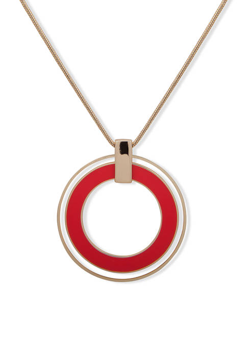 Silver Tone Coral Adjustable Ring Pendant Necklace