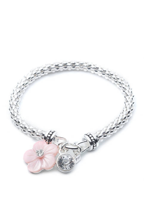 Nine West Boxed Silver Tone Pink Flower Stretch