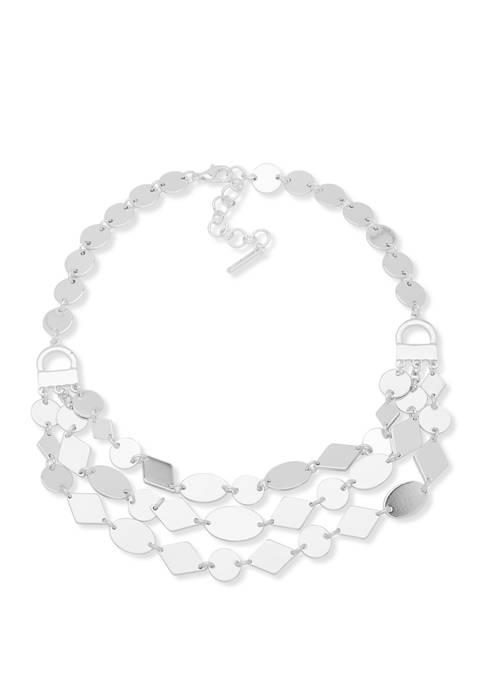 Silver Tone Multirow Collar Necklace