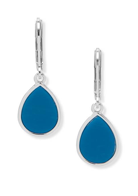 Silver Tone Blue Teardrop Earrings
