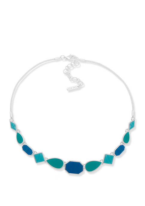 Silver Tone Blue Mixed Shape Frontal Necklace