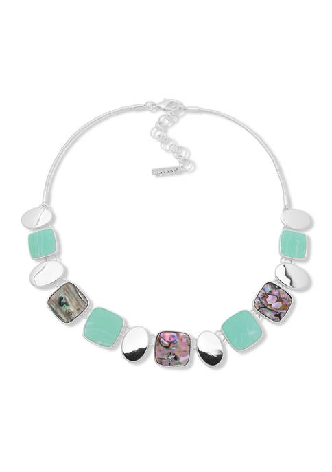 Silver-Tone Abalone Frontal Necklace
