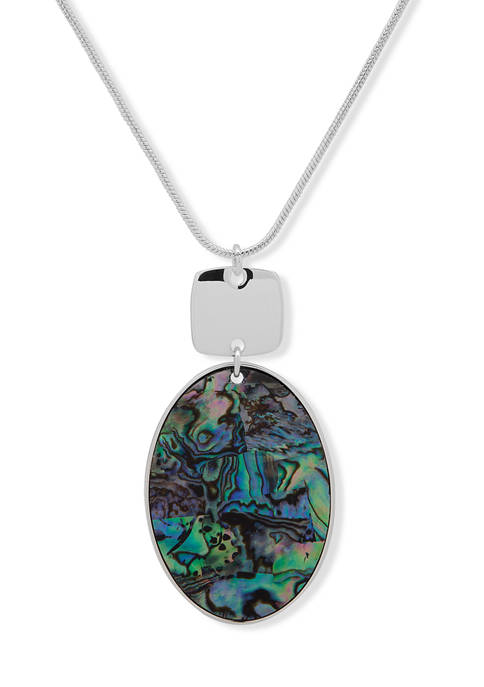Silver-Tone Abalone Adjustable Pendant Necklace