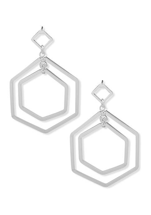 Silver Tone Double Drop Orbital Earrings