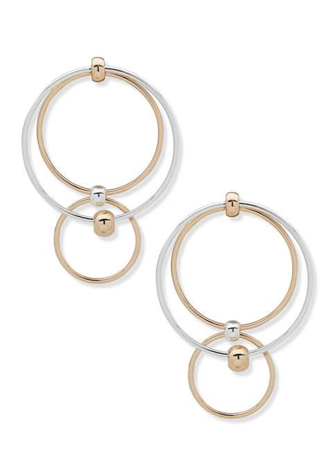 Two-Tone Circle Double Drop Earrings