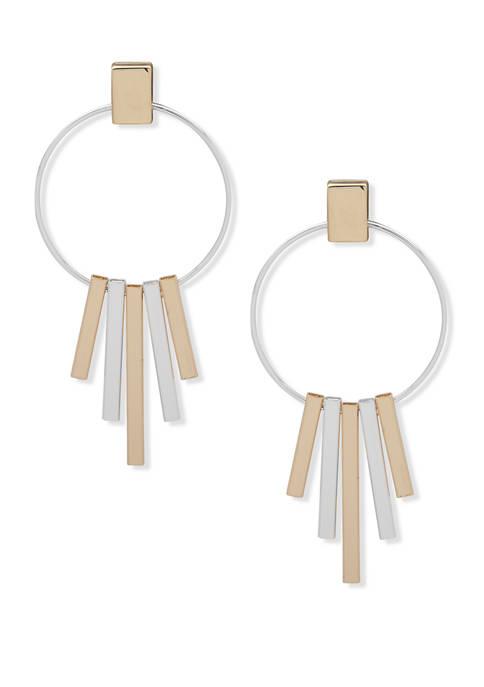 Nine West Two Tone Large Linear Drop Earrings