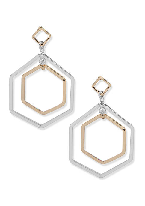Two Tone Double Drop Orbital Earrings