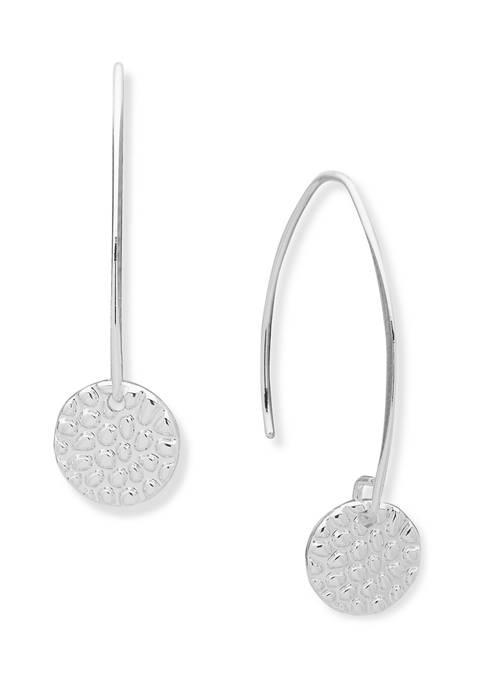 Silver Tone Textured Threader Earrings