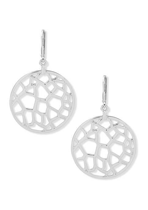 Silver Tone Large Open Work Drop Earrings
