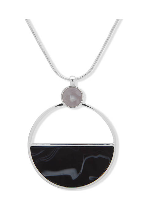 Silver Tone Adjustable Circle Pendant Necklace