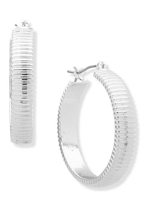 Silver-Tone Medium Textured Clicktop Hoop Earrings