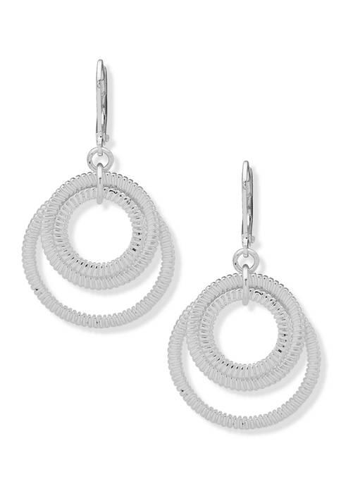Nine West Silver Tone Medium Orbital Drop Earrings