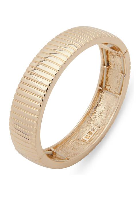 Gold Tone Textured Stretch Bracelet