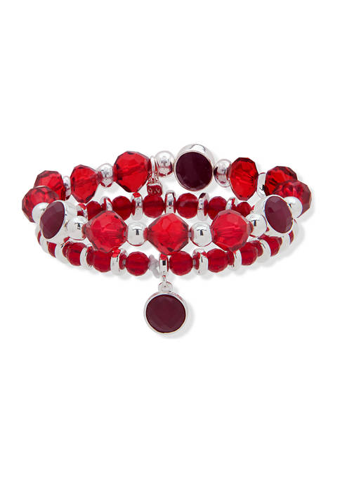 Silver Tone Boxed Red Bead Stretch Bracelet