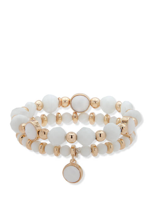 Nine West Boxed Gold Tone White Bead Stretch