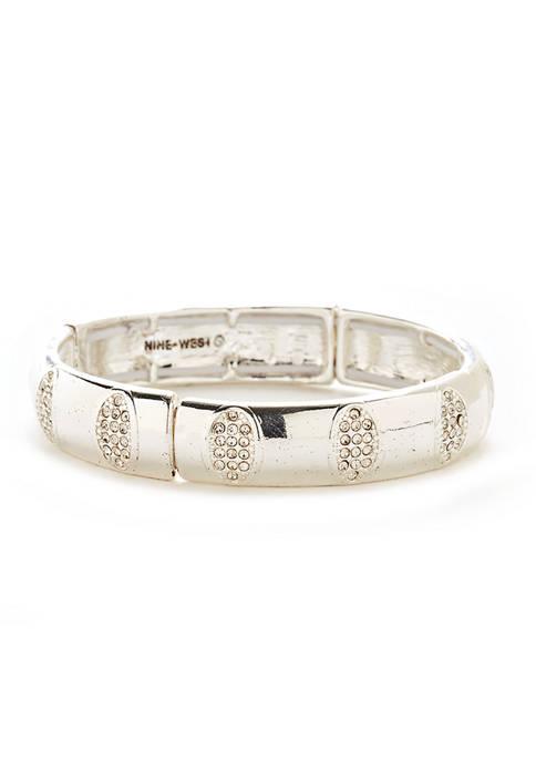 Nine West Boxed Silver Tone Pave Stretch Bracelet