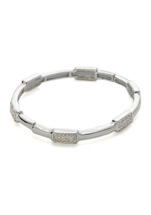 Boxed Silver-Tone Crystal Pave Stretch Bracelet