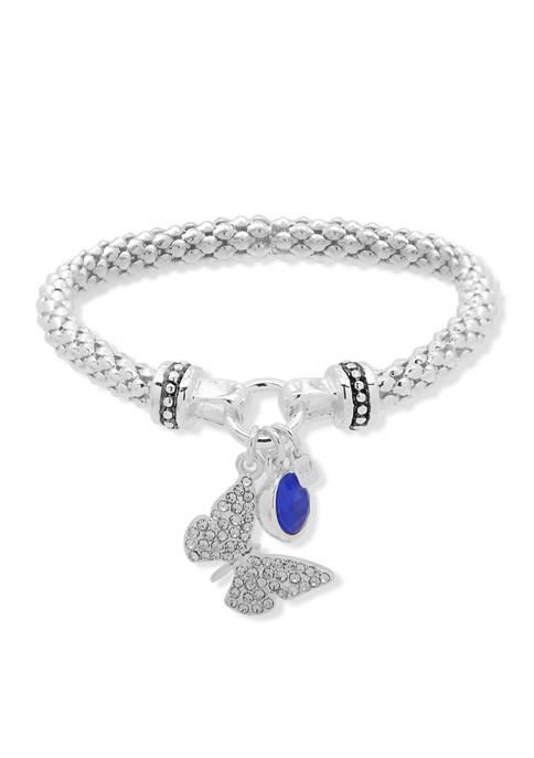 Nine West Butterfly Stretch Silver Crystal Bracelet