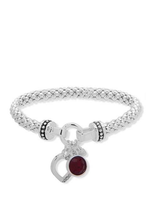 Nine West Boxed Silver Tone Crystal Red Heart