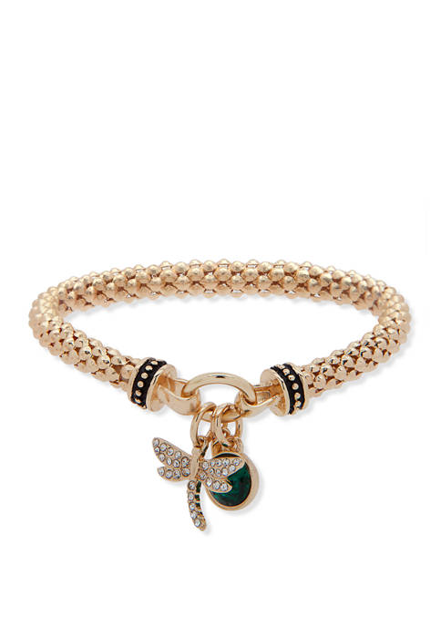 Nine West Boxed Gold Tone Crystal Green Dragonfly