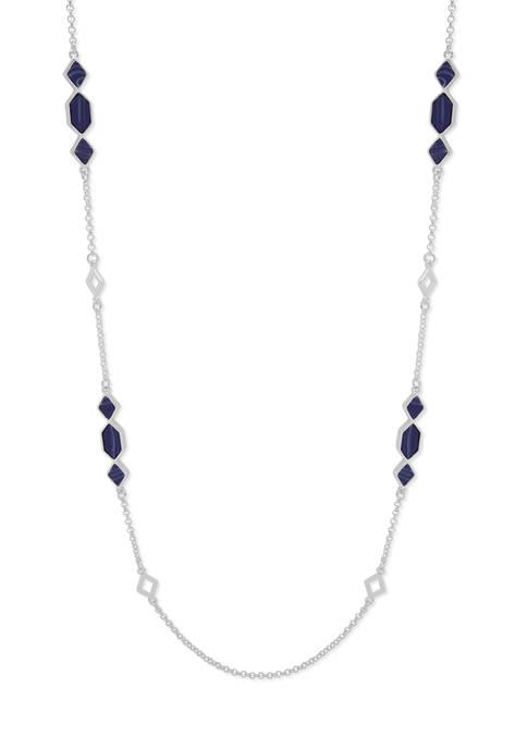 Nine West Silver Tone Denim Inlay Strandage Necklace