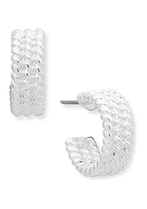 Silver Tone 14 Millimeter Small C Hoop Earrings