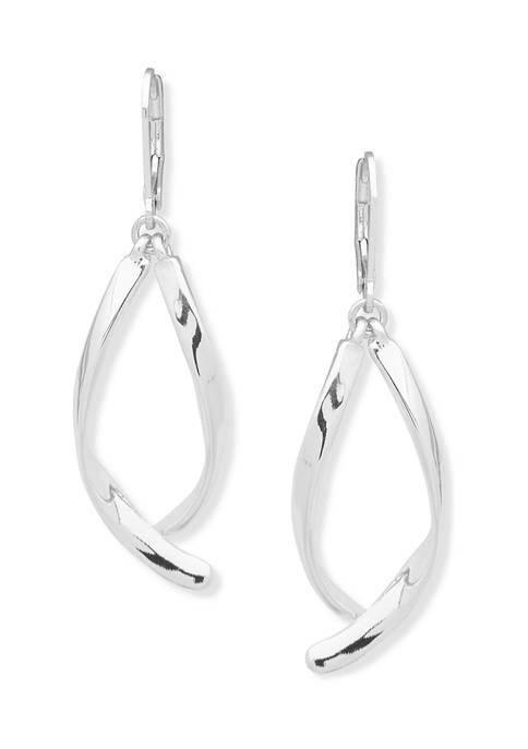 Silver Tone Double Drop Stick Earrings