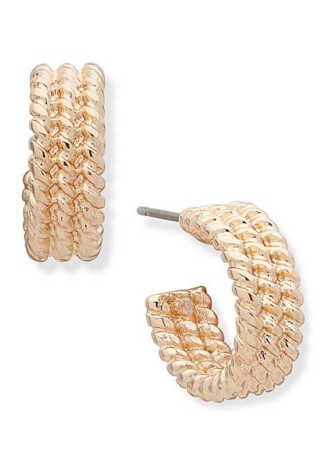 Gold Tone 14 Millimeter Small C Hoop Earrings