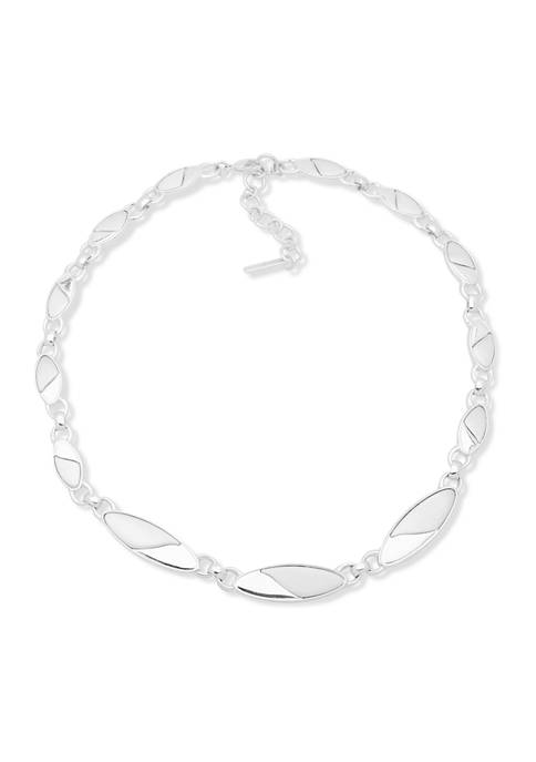 16 Inch Silver-Tone Oval Collar Necklace