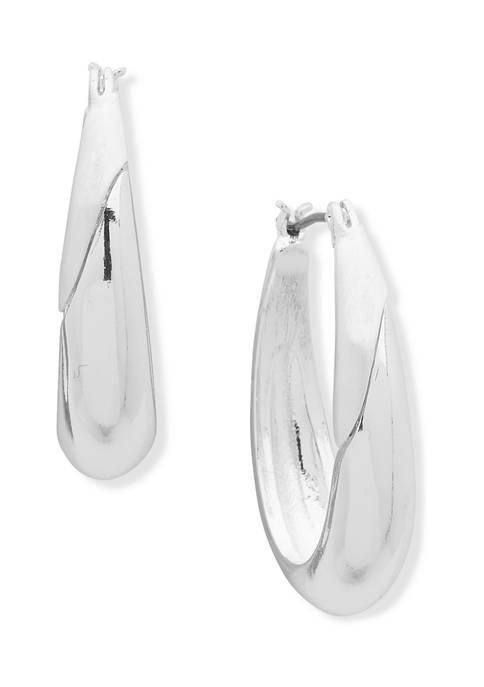 28 Millimeter Thick Silver Tone Hoop Earrings
