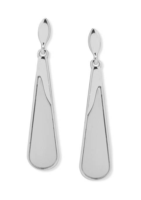 Silver Tone Double Drop Linear Earrings
