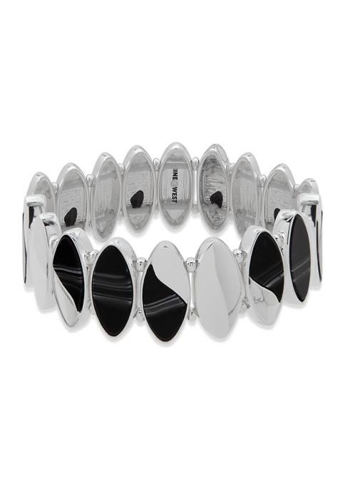 Nine West Silver Tone Oval Stretch Bracelet