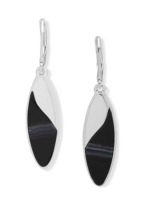 Silver Tone Oval Drop Lever Back Earrings