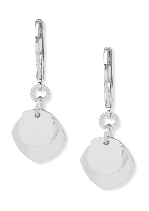 Nine West Silver Tone Small Layered Octagon Lever