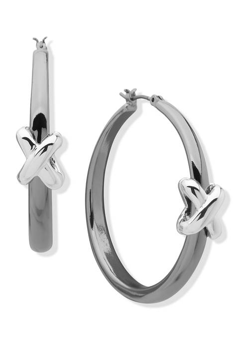 Two Tone X Hoop Earrings