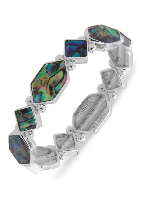 Silver Tone Abalone Hex Stretch Boxed Bracelet