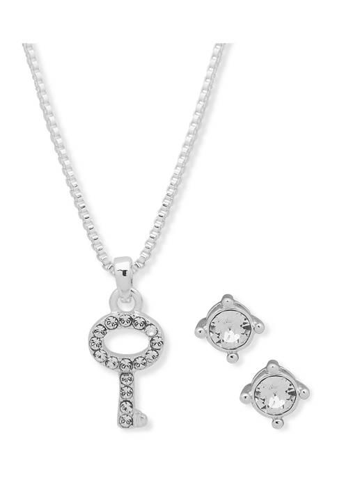 Boxed Silver Tone Swarovski Bracelet and Necklace Set