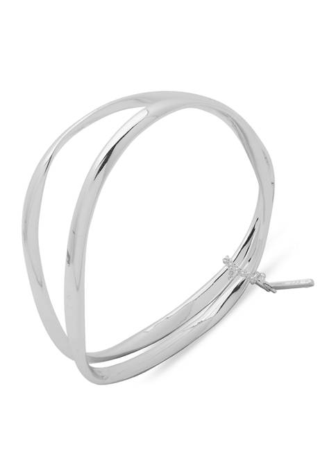 Nine West Silver-Tone Box Organic Bangle Bracelet Set