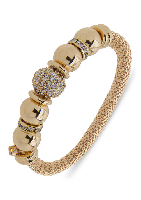 Gold Tone Crystal Fireball Stretch Boxed Bracelet