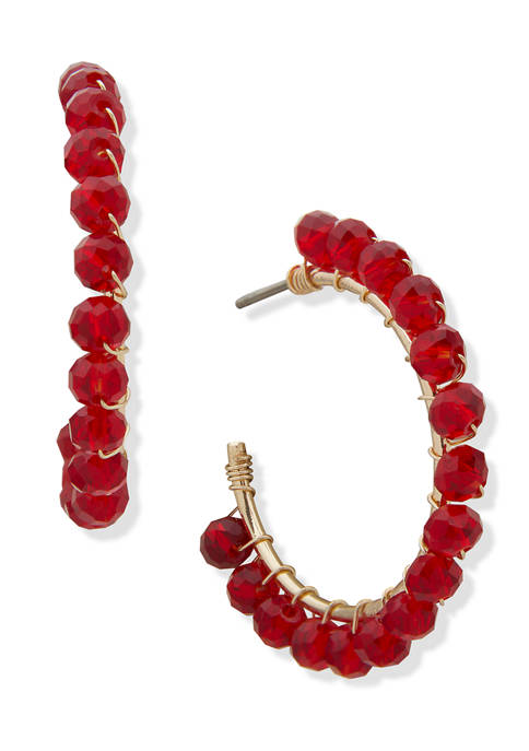 Gold Tone Red Beaded C Hoop Earrings