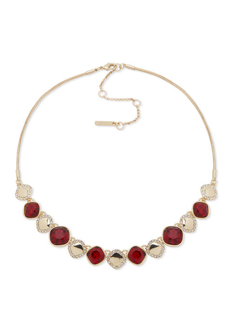 Gold Tone 17 Inch Red Stone Frontal Necklace