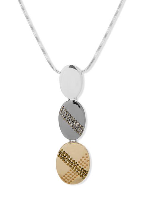 Tri-Tone 32 Inch Oval Pendant Necklace