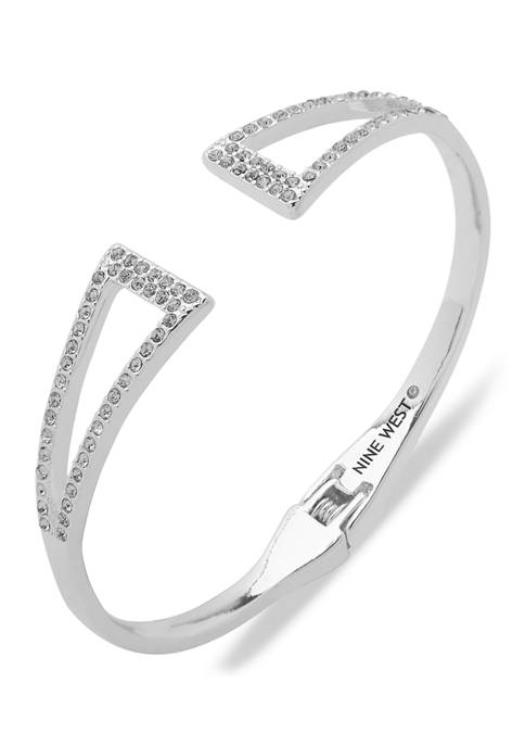 Silver Tone Crystal Triangle Hinge Boxed Bracelet