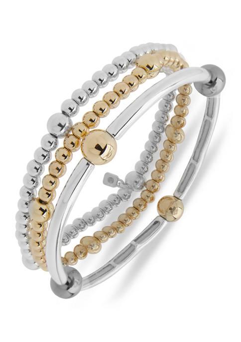 Tri Tone Three Beaded Stretch Boxed Bracelet Set