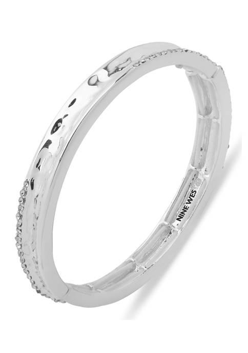 Silver Tone Crystal Hamered Stretch Bangle Boxed Bracelet