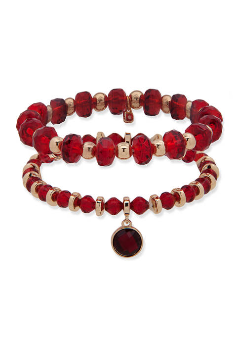 Nine West Gold Tone Red Stretch Boxed Bracelet
