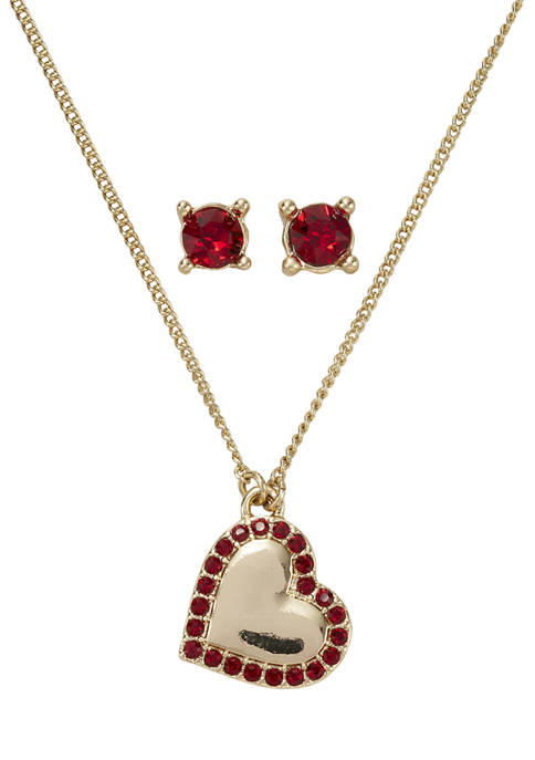 Gold Tone Red Swarovski® Heart Necklace and Earrings Boxed Set